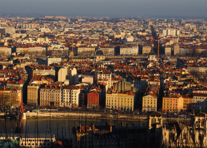 Lyon panorama coucher de soleil